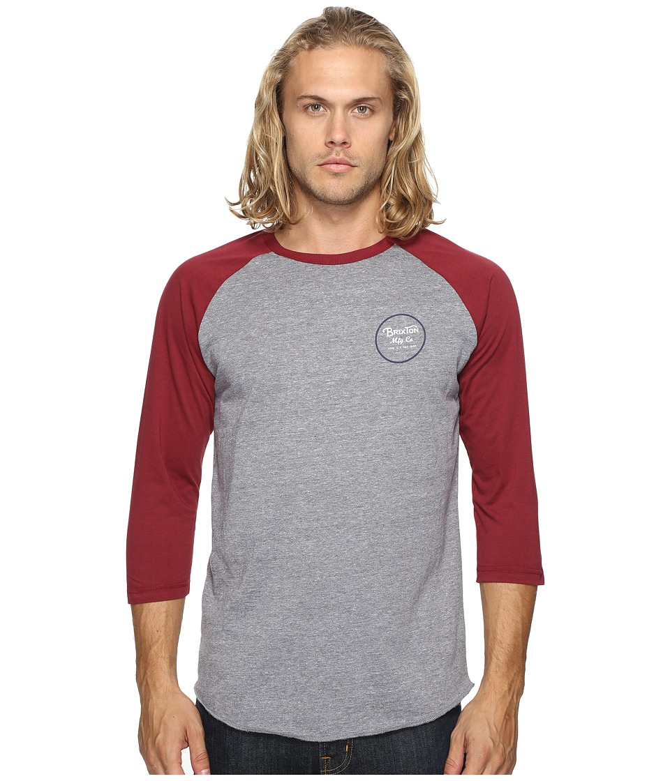 Brixton - Wheeler 3/4 Sleeve Tee (Light Heather Grey/Burgundy) Men's Long Sleeve Pullover