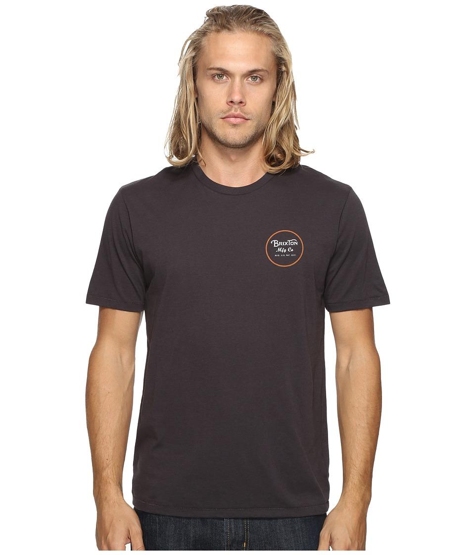 Brixton - Wheeler II Short Sleeve Premium Tee (Washed Black) Men's T Shirt