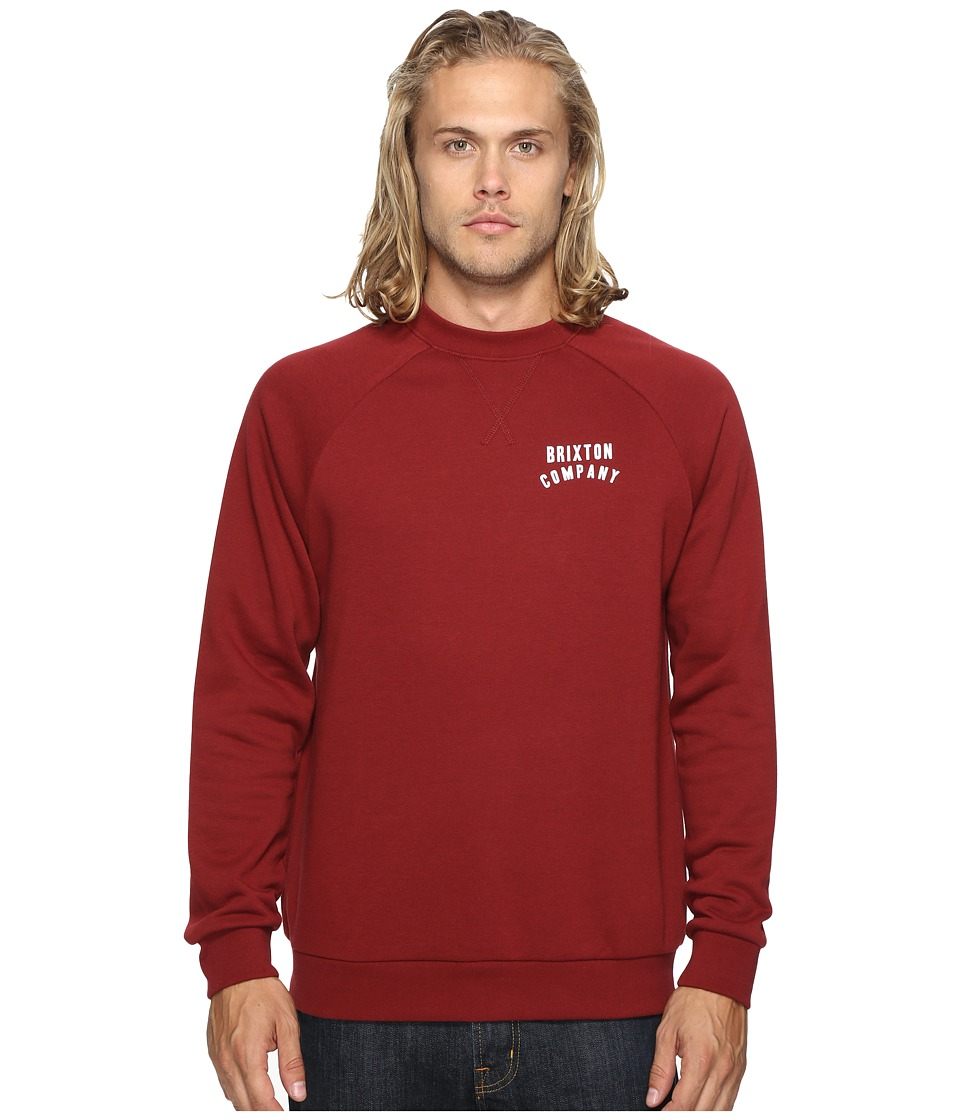 Brixton - Woodburn II Crew Fleece (Burgundy) Men's Fleece