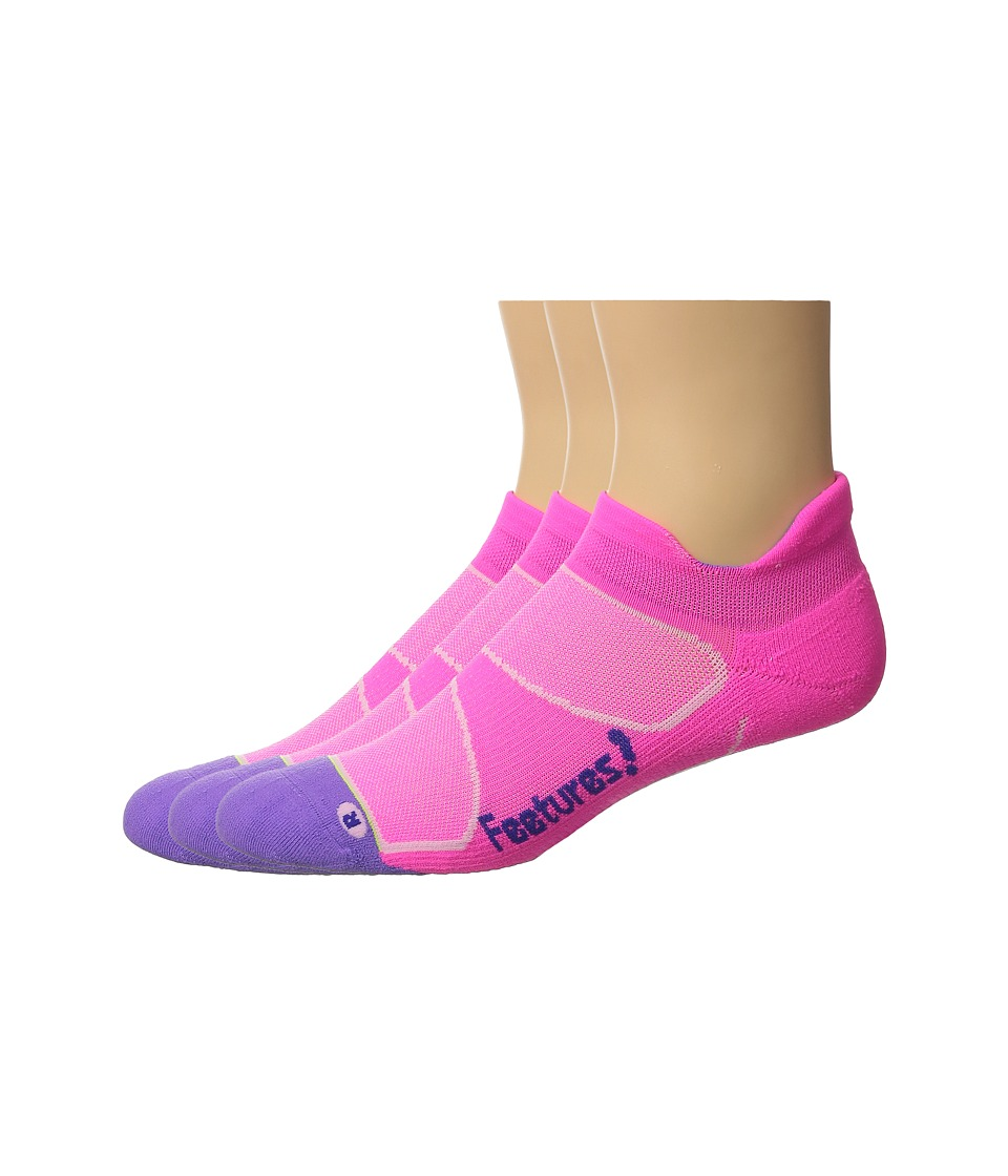 Feetures - Elite Light Cushion No Show Tab 3-Pair Pack (Pink Pop/Iris) No Show Socks Shoes