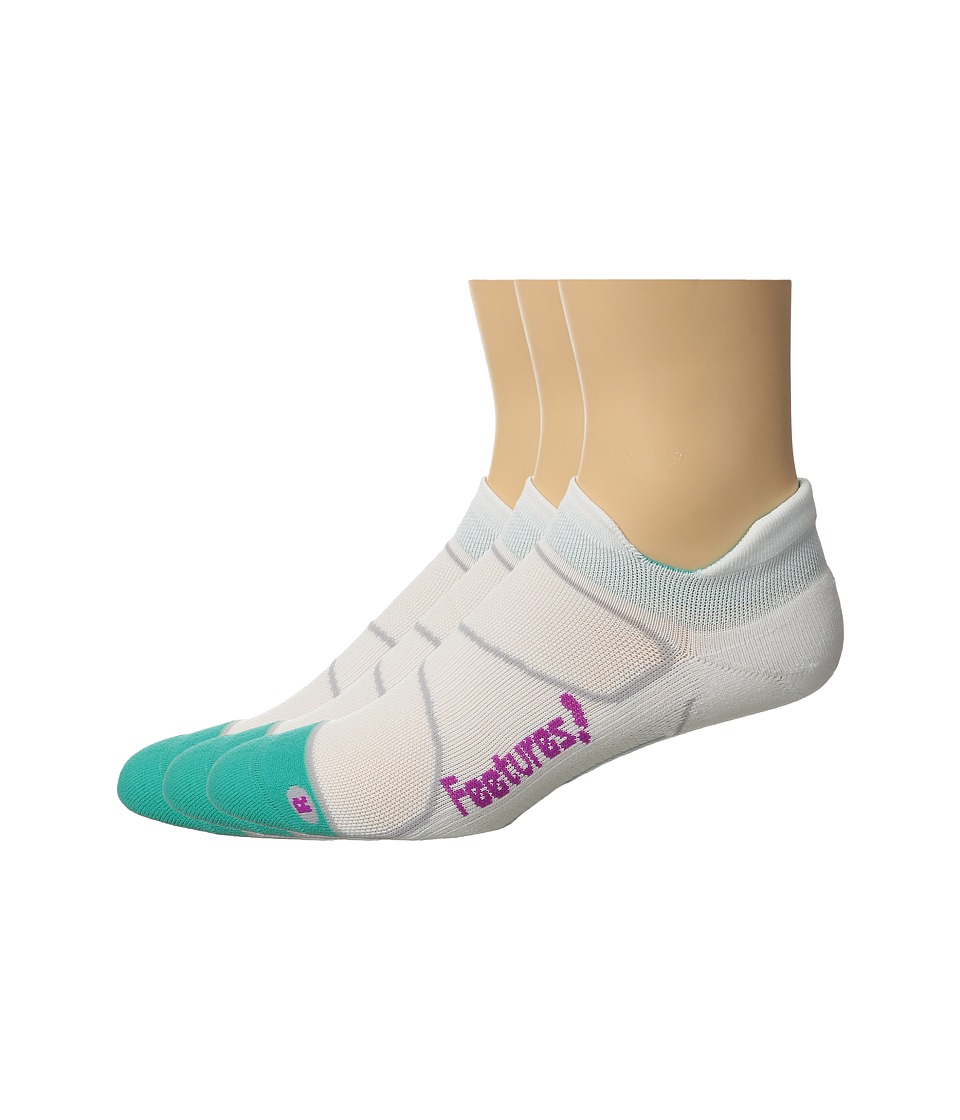 Feetures - Elite Light Cushion No Show Tab 3-Pair Pack (White/Berry) No Show Socks Shoes