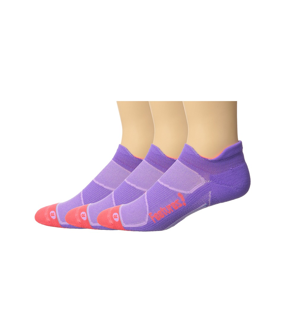 Feetures - Elite Light Cushion No Show Tab 3-Pair Pack (Viola/Lava) No Show Socks Shoes