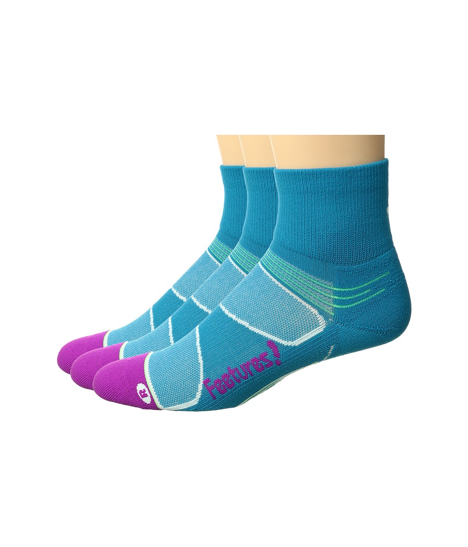 Feetures - Elite Light Cushion Quarter 3-Pair Pack (Capri/Berry) Quarter Length Socks Shoes