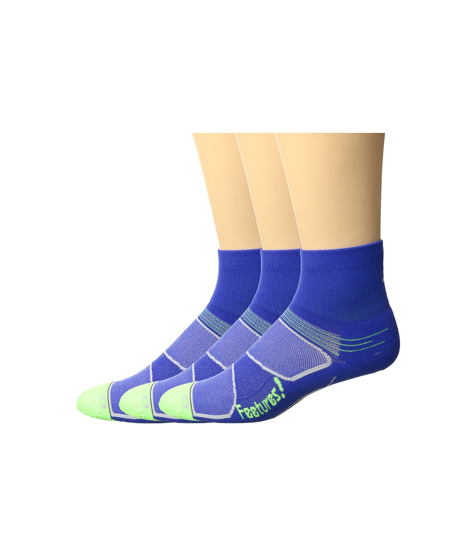 Feetures - Elite Light Cushion Quarter 3-Pair Pack (Dazzling Blue/Citron) Quarter Length Socks Shoes