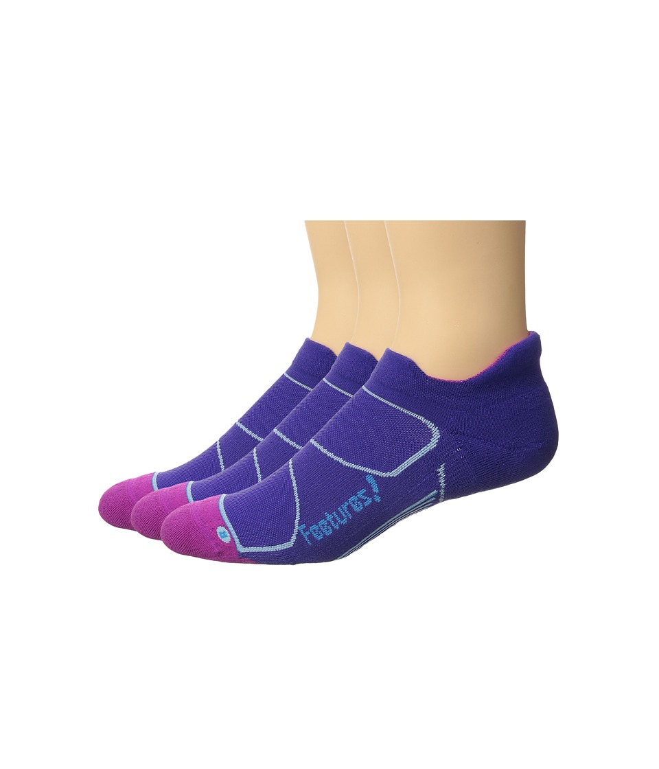 Feetures - Elite Max Cushion No Show Tab 3-Pair Pack (Iris/Hawaiian Blue) No Show Socks Shoes