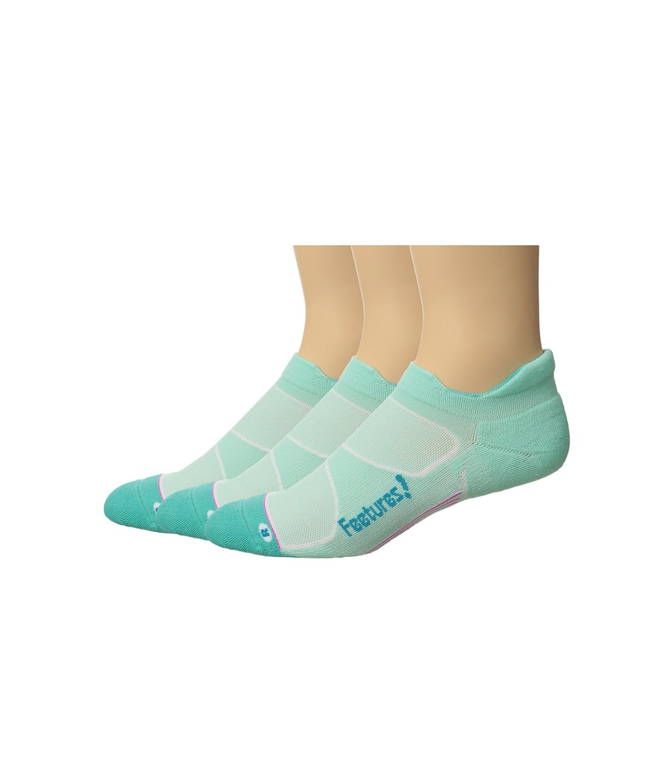 Feetures - Elite Max Cushion No Show Tab 3-Pair Pack (Mint/Capri) No Show Socks Shoes