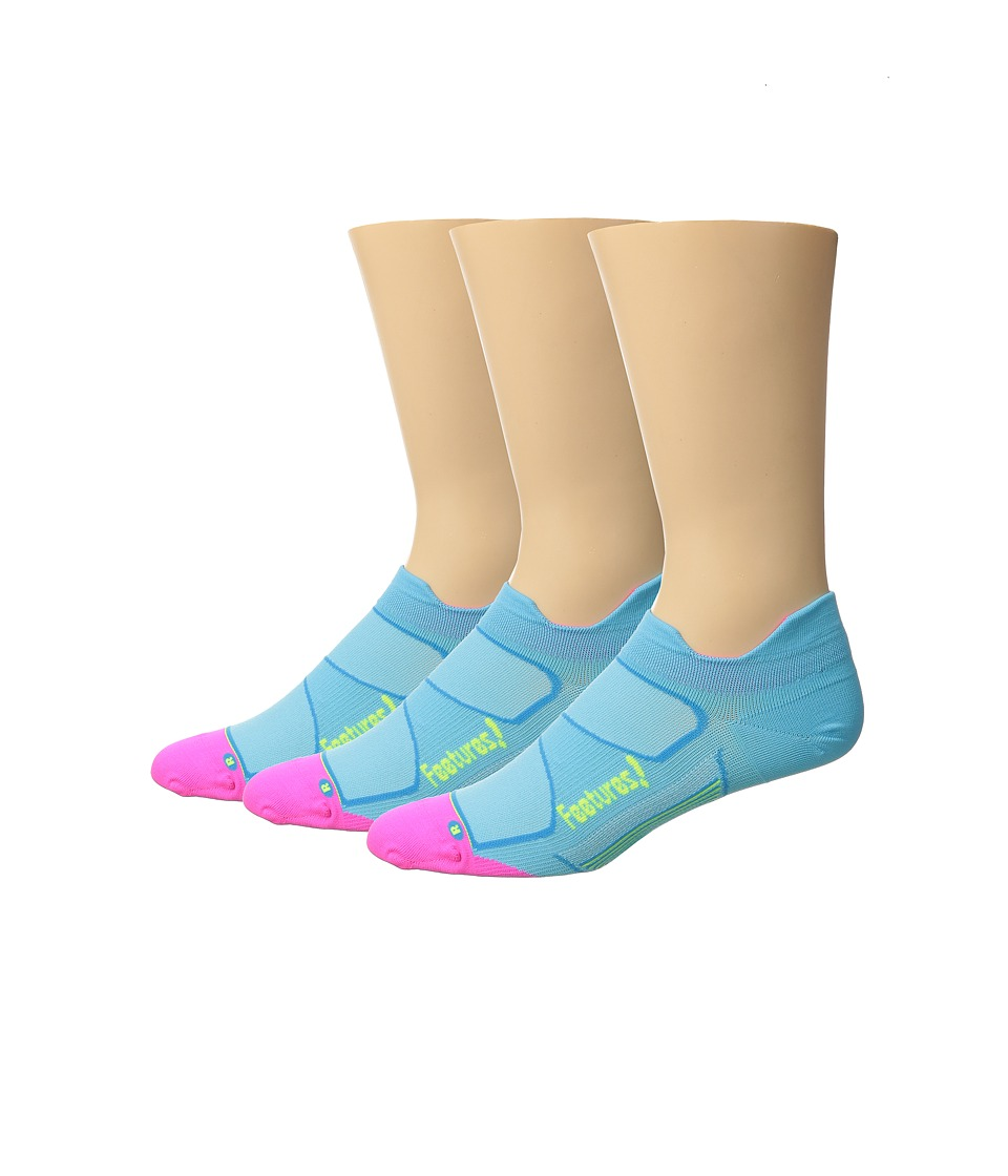 Feetures - Elite Ultra Light No Show Tab 3-Pair Pack (Sky Blue/Reflector) No Show Socks Shoes