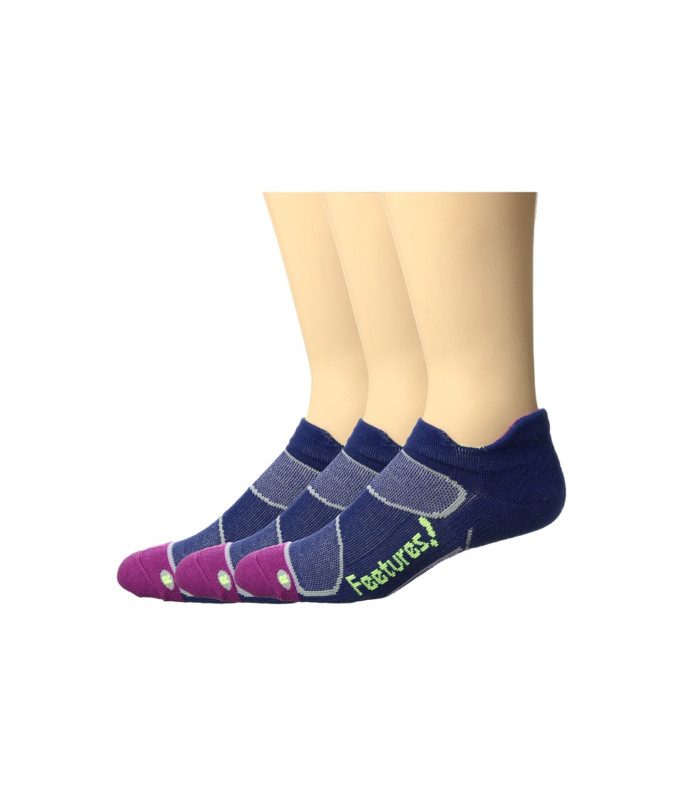 Feetures - Merino+ Cushion No Show Tab 3-Pair Pack (Navy/Reflector) No Show Socks Shoes