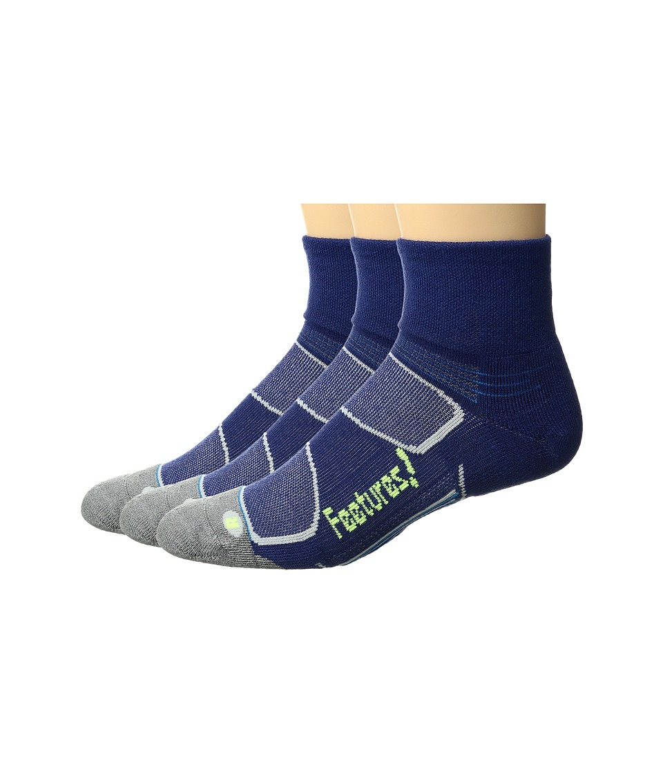 Feetures - Merino+ Cushion Quarter 3-Pair Pack (Navy/Reflector) Quarter Length Socks Shoes