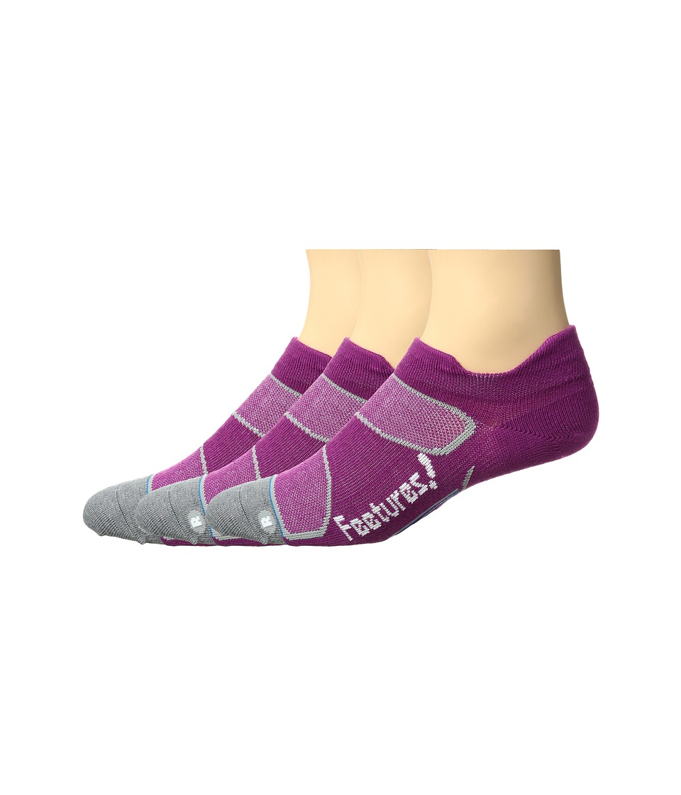 Feetures - Elite Merino+ Ultra Light No Show Tab 3-Pair Pack (Berry/White) No Show Socks Shoes