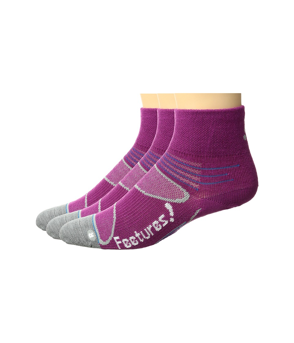 Feetures - Elite Merino+ Ultra Light Quarter 3-Pair Pack (Berry/White) Quarter Length Socks Shoes
