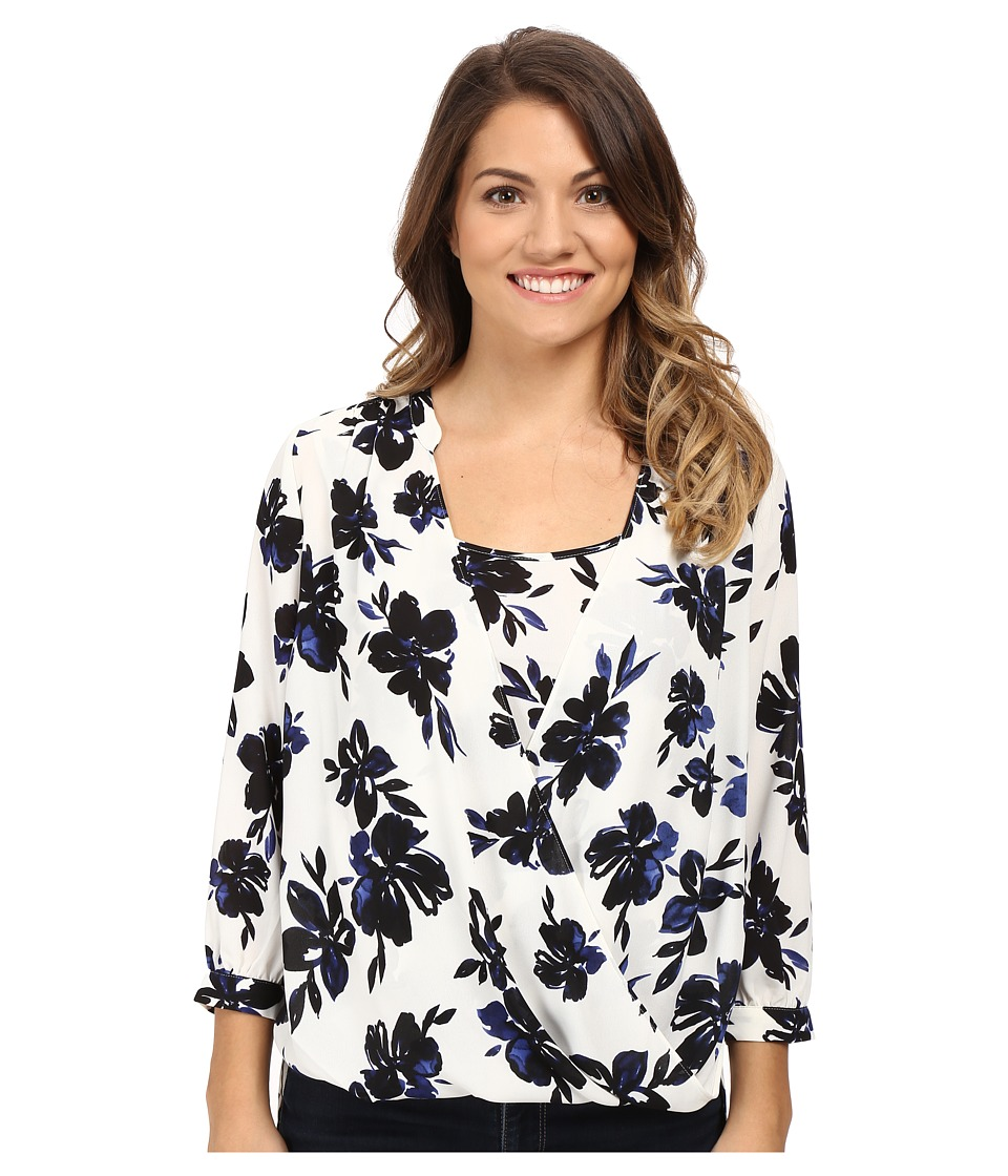NYDJ Petite - Petite Drape Front Blouse with Built in Cami (Fair Lady Floral) Women's Blouse