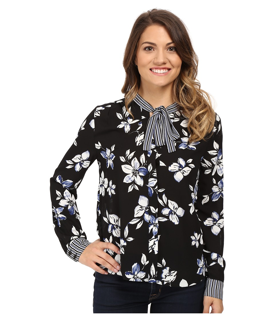 NYDJ Petite - Petite Printed Long Sleeve Tie Neck Blouse (English Garden Black) Women's Blouse