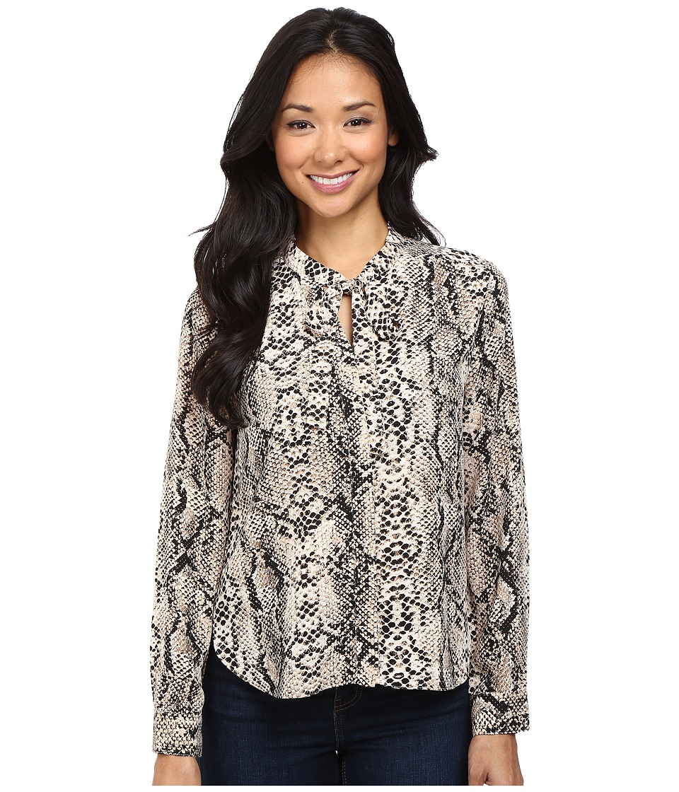 NYDJ Petite - Petite Printed Long Sleeve Tie Neck Blouse (Victorian Python) Women's Blouse