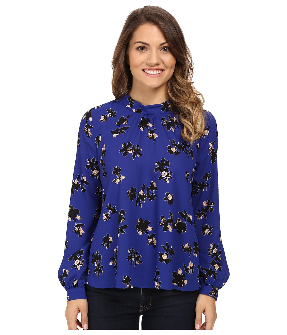 NYDJ Petite - Petite Printed Long Sleeve Mock Neck Blouse (Moon River Floral Cerulean) Women's Blouse