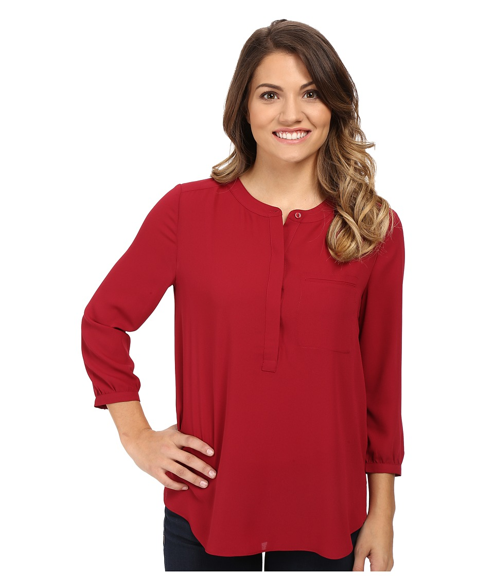 NYDJ Petite - Petite Solid 3/4 Sleeve Pleat Back (Carmine) Women's Long Sleeve Pullover