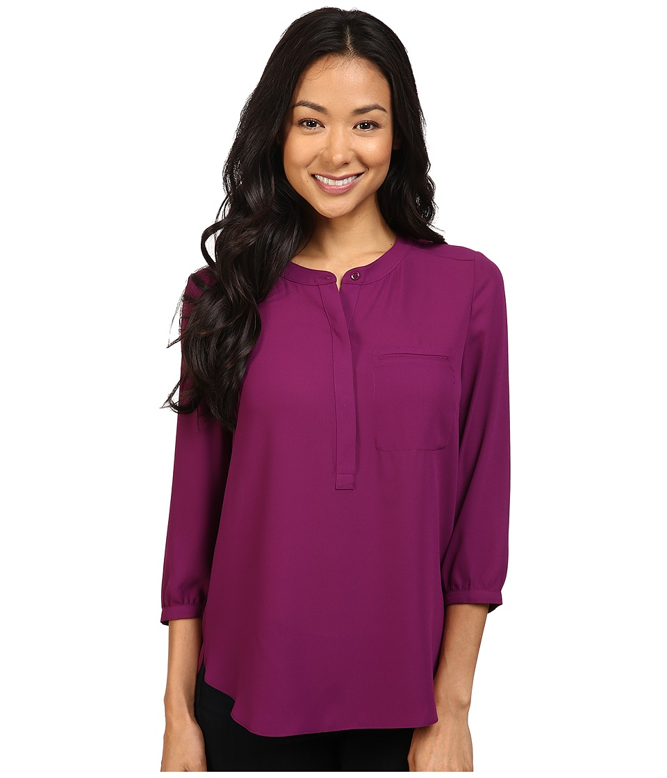 NYDJ Petite - Petite Solid 3/4 Sleeve Pleat Back (Dark Currant) Women's Long Sleeve Pullover