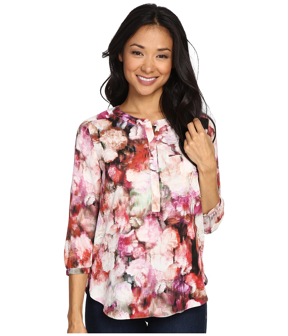 NYDJ Petite - Petite Solid 3/4 Sleeve Pleat Back (Renaissance Floral) Women's Long Sleeve Pullover