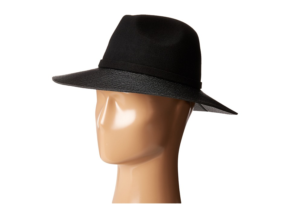 Vince Camuto - Faux Leather Loop and Brim Panama (Black) Caps