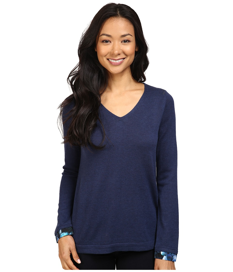 NYDJ Petite - Petite Mixed Media V-Neck Sweater (Hardy Violets) Women's Sweater