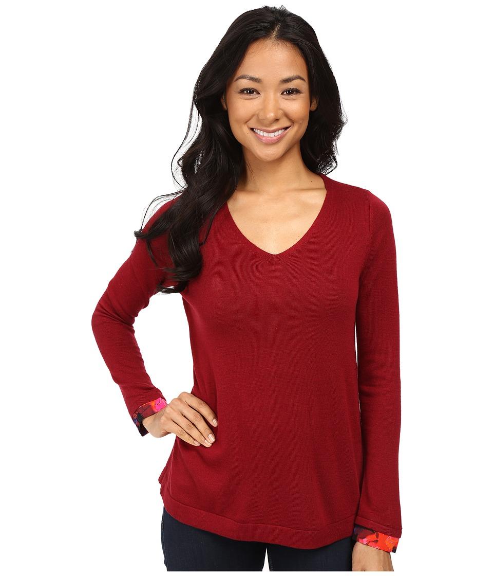 NYDJ Petite - Petite Mixed Media V-Neck Sweater (Carmine Promise) Women's Sweater