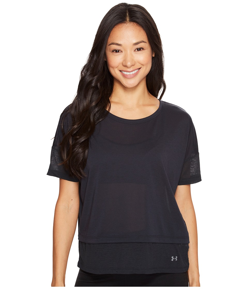 Under Armour - Tech Slub Layered Short Sleeve (Black) Women's Clothing