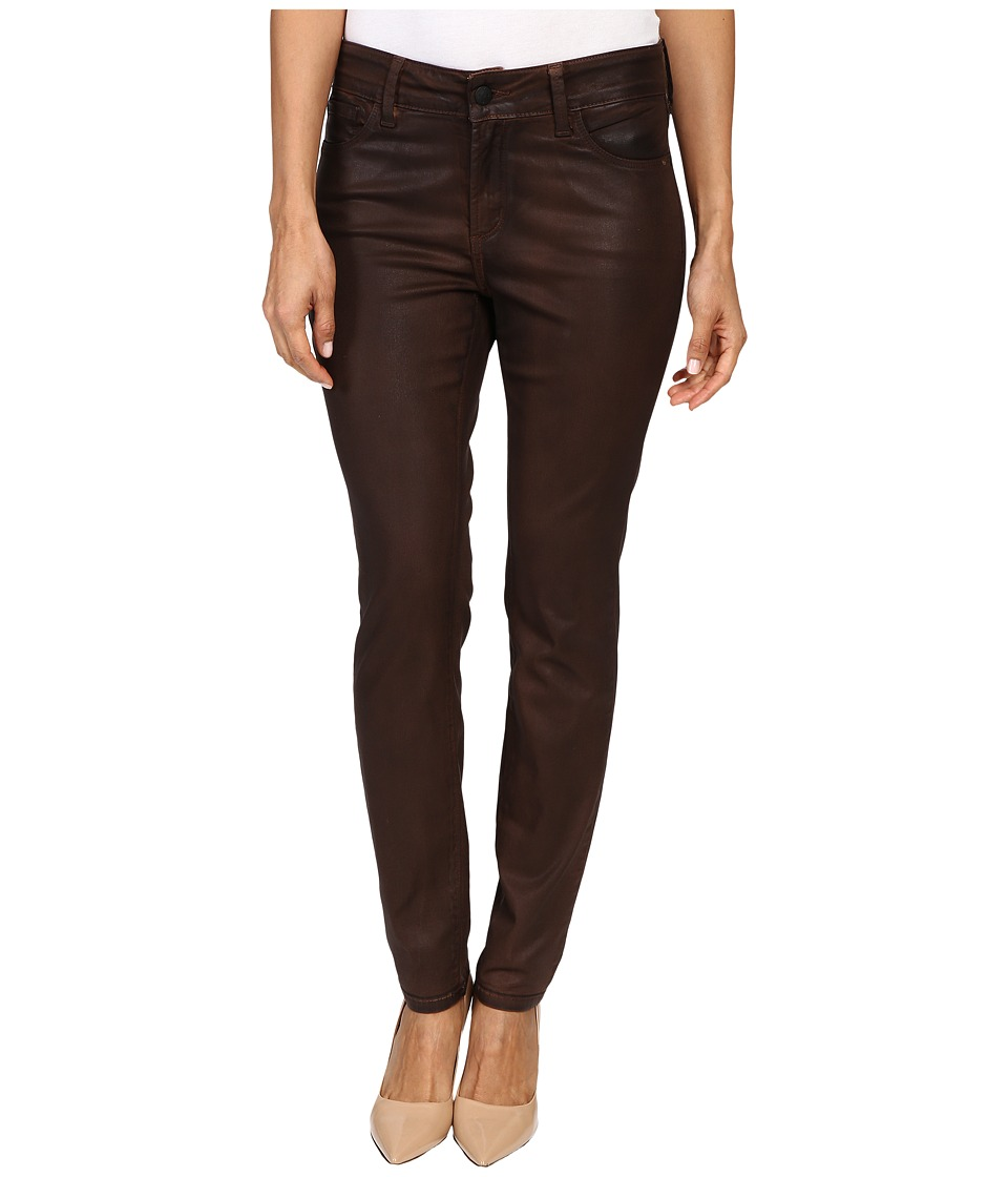 NYDJ Petite Petite Alina Leggings Jeans in Faux Leather Coating in Mahogany/Brown Leather Coating (Mahogany/Brown Leather Coating) Women