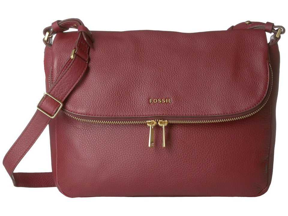 Fossil - Preston Flap (Wine) Cross Body Handbags