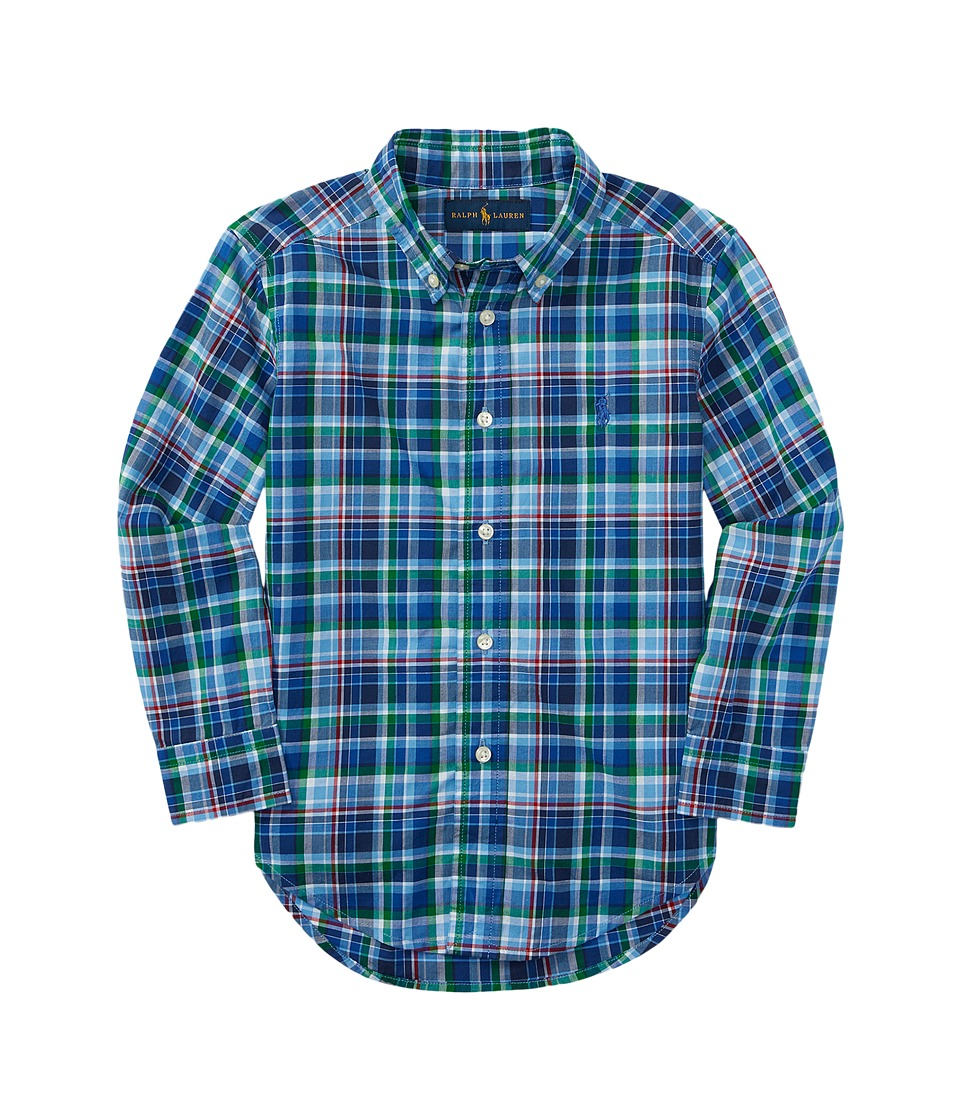 Polo Ralph Lauren Kids - Poplin Plaid Long Sleeve Button Down Shirt (Toddler) (Royal/Light Blue Multi) Boy's Long Sleeve Button Up