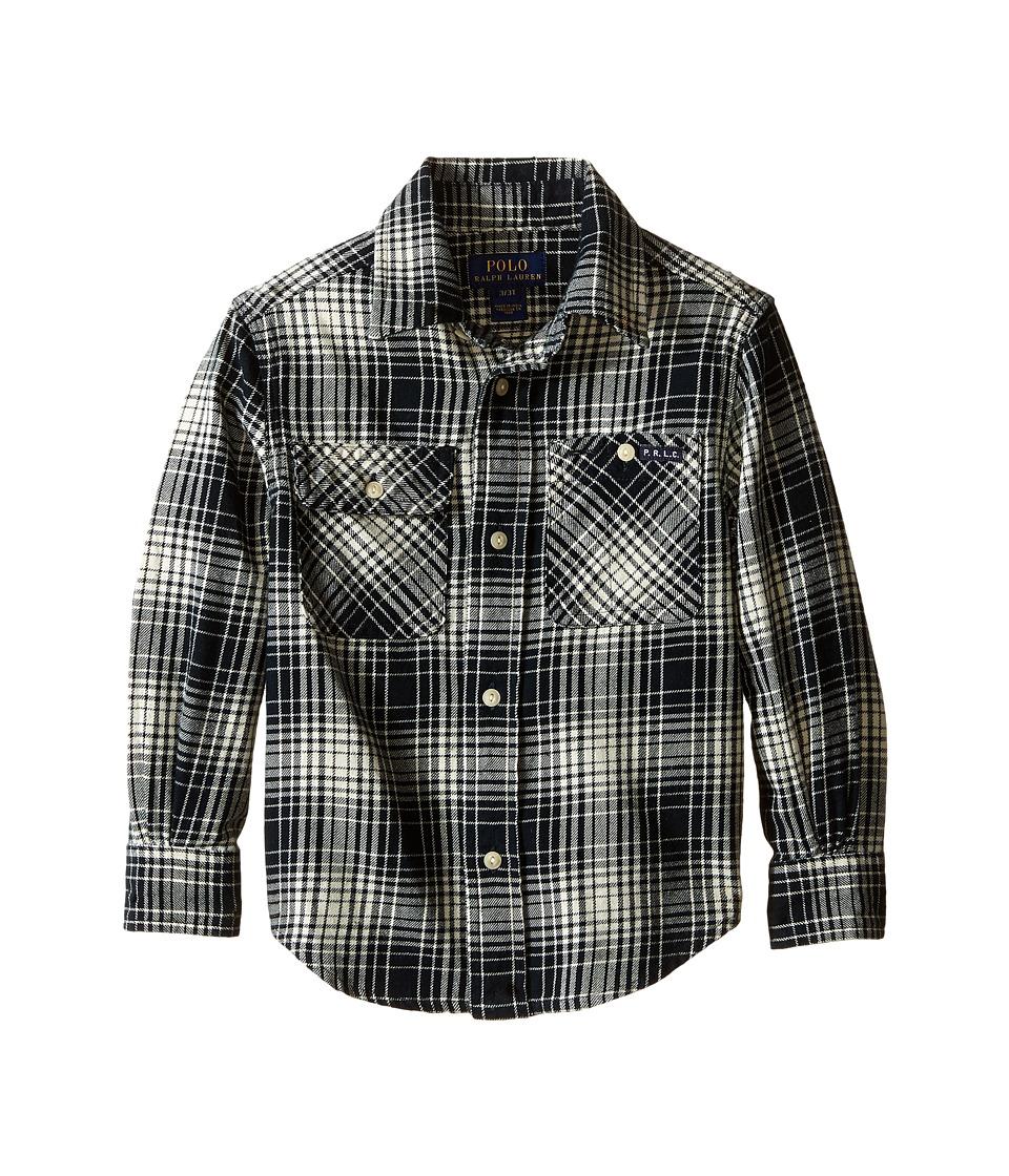 Polo Ralph Lauren Kids - Vintage Twill Matlock Shirt (Toddler) (Black/Cream Multi) Boy's Short Sleeve Button Up