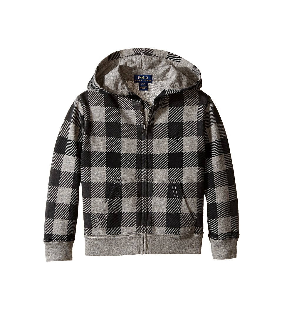 Polo Ralph Lauren Kids - Yummy Fleece Full Zip Hoodie (Toddler) (Grey Heather Multi) Boy's Sweatshirt