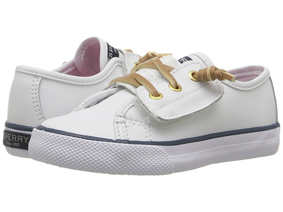 Sperry Kids - SP-Seacoast Jr. (Toddler/Little Kid) (White Leather) Girl's Shoes