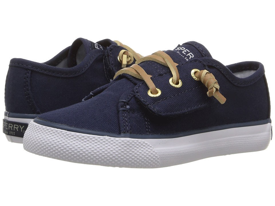 Sperry Kids - Seacoast Jr. (Toddler/Little Kid) (Navy Canvas) Girl's Shoes
