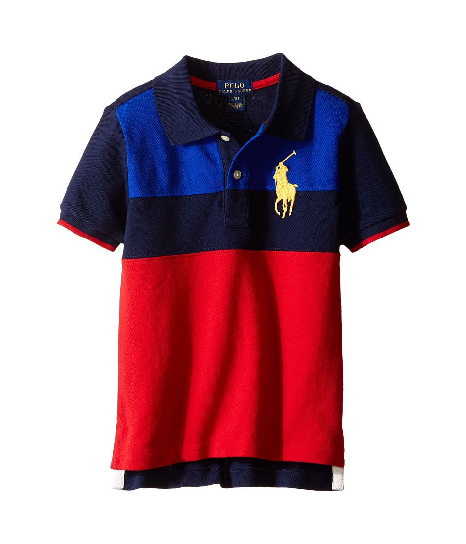 Polo Ralph Lauren Kids - Mesh Novel Polo Shirt (Toddler) (Casino Red Multi) Boy's Short Sleeve Knit