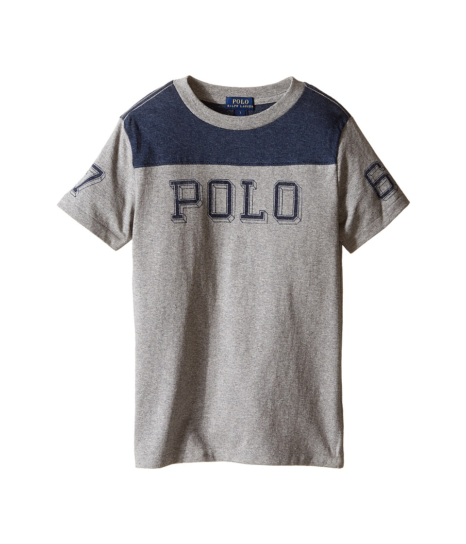 Polo Ralph Lauren Kids - Jersey Graphic Tee (Little Kids/Big Kids) (Battalion Heather) Boy's T Shirt