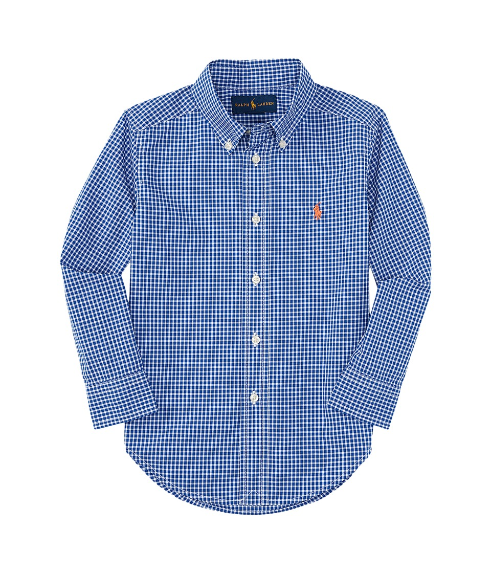 Polo Ralph Lauren Kids - Yarn-Dyed Poplin Long Sleeve Button Shirt (Little Kids/Big Kids) (Royal/White) Boy's Long Sleeve Button Up