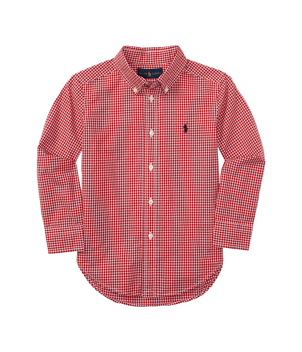 Polo Ralph Lauren Kids - Yarn-Dyed Poplin Long Sleeve Button Shirt (Little Kids/Big Kids) (Red/White) Boy's Long Sleeve Button Up
