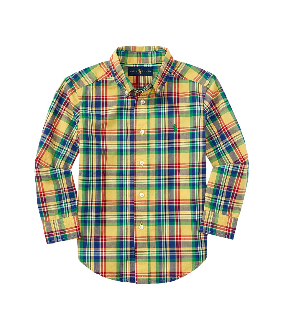 Polo Ralph Lauren Kids - Poplin Plaid Long Sleeve Shirt (Little Kids/Big Kids) (Yellow/Royal White) Boy's Long Sleeve Button Up