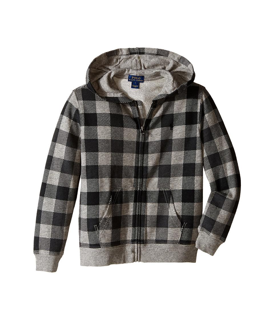 Polo Ralph Lauren Kids - Yummy Fleece Full Zip Hoodie (Little Kids/Big Kids) (Grey Heather Multi) Boy's Sweatshirt