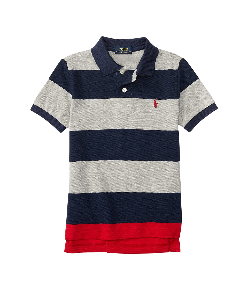 Polo Ralph Lauren Kids - Yarn-Dyed Mesh Stripe Polo Shirt (Little Kids/Big Kids) (Andover Heather Multi) Boy's Short Sleeve Knit