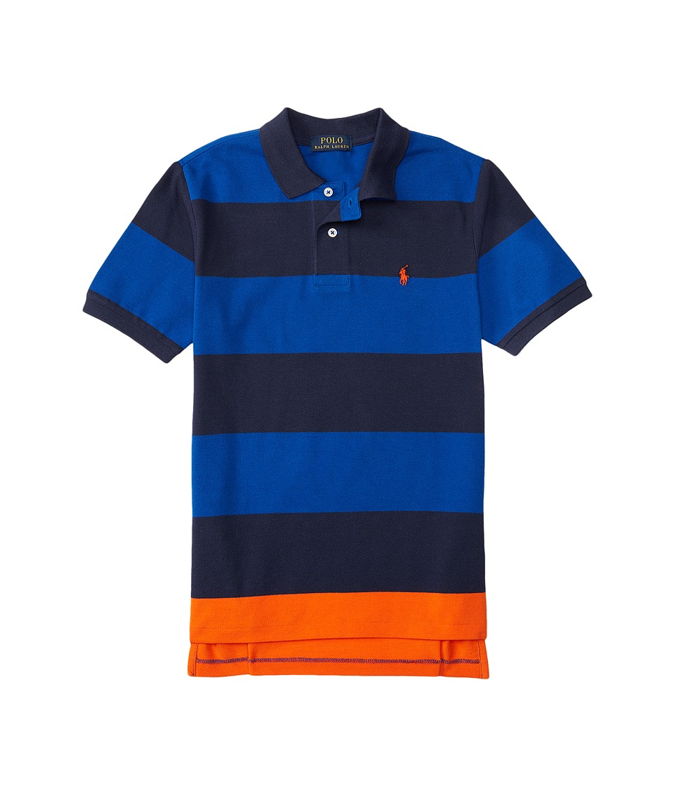 Polo Ralph Lauren Kids - Yarn-Dyed Mesh Stripe Polo Shirt (Little Kids/Big Kids) (Sapphire Star Multi) Boy's Short Sleeve Knit