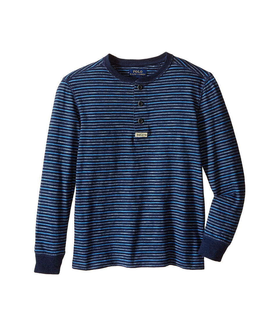 Polo Ralph Lauren Kids - Yarn-Dyed Slub Jersey Henley Shirt (Little Kids/Big Kids) (Blue Multi) Boy's Short Sleeve Knit