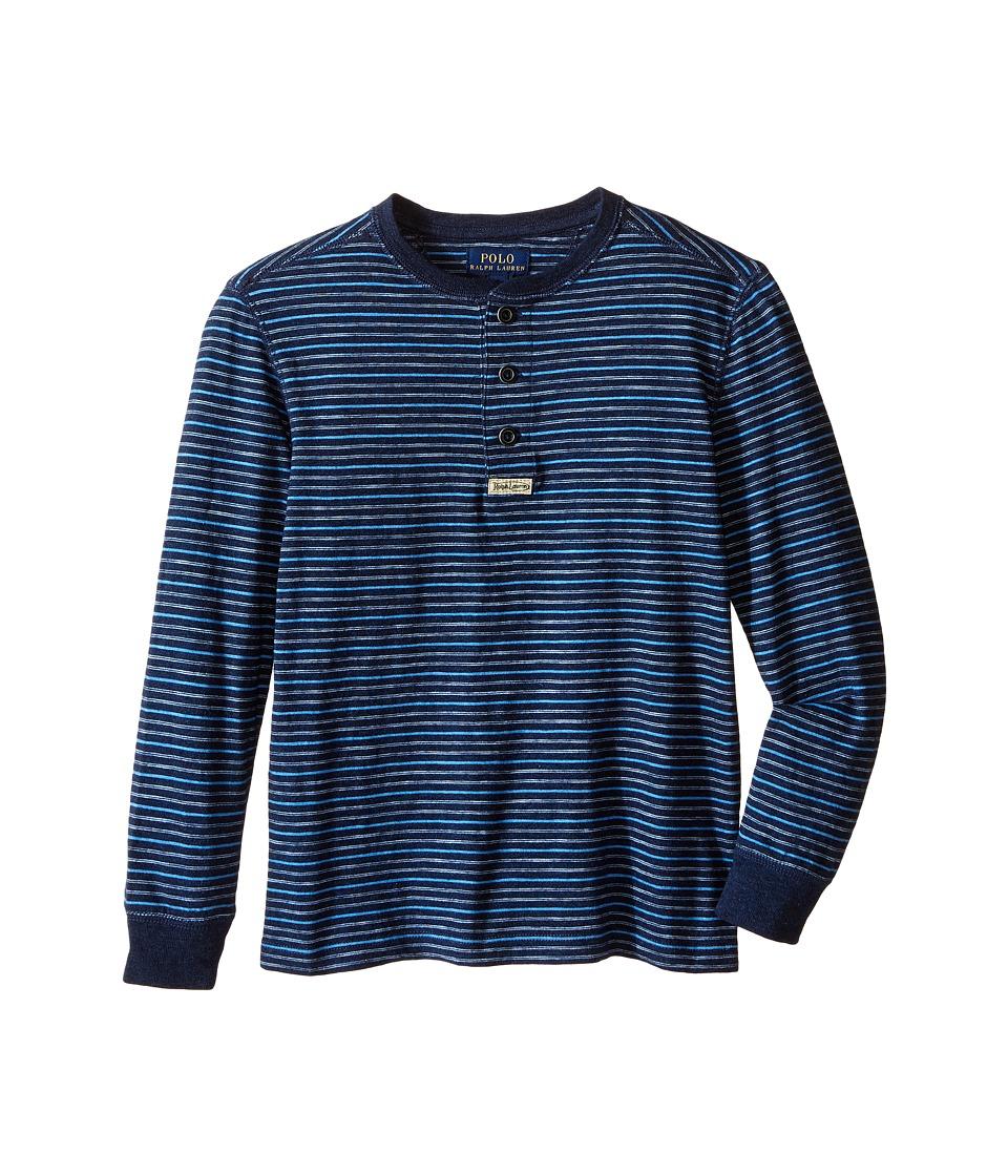 Polo Ralph Lauren Kids - Yarn-Dyed Slub Jersey Henley Shirt (Little Kids/Big Kids) (Blue Multi) Boy's Short Sleeve Knit
