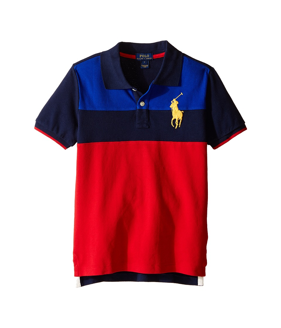 Polo Ralph Lauren Kids - Mesh Novel Polo Shirt (Little Kids/Big Kids) (Casino Red Multi) Boy's Short Sleeve Knit