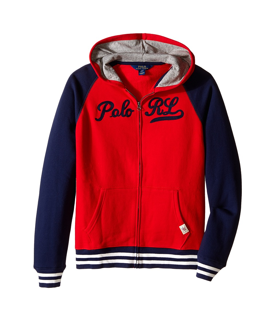 Polo Ralph Lauren Kids - Seasonal Fleece Full Zip Top (Big Kids) (Camden Red) Boy's Fleece