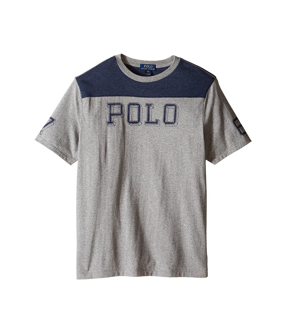 Polo Ralph Lauren Kids - Jersey Graphic Tee (Big Kids) (Batallion Heather) Boy's T Shirt