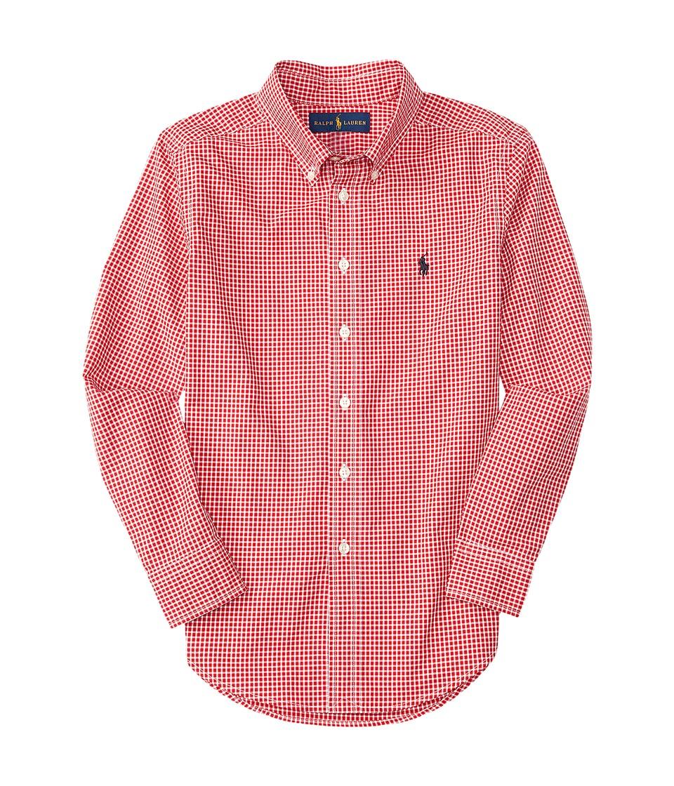Polo Ralph Lauren Kids - Yarn-Dyed Poplin Long Sleeve Button Down Shirt (Big Kids) (Red/White) Boy's Long Sleeve Button Up