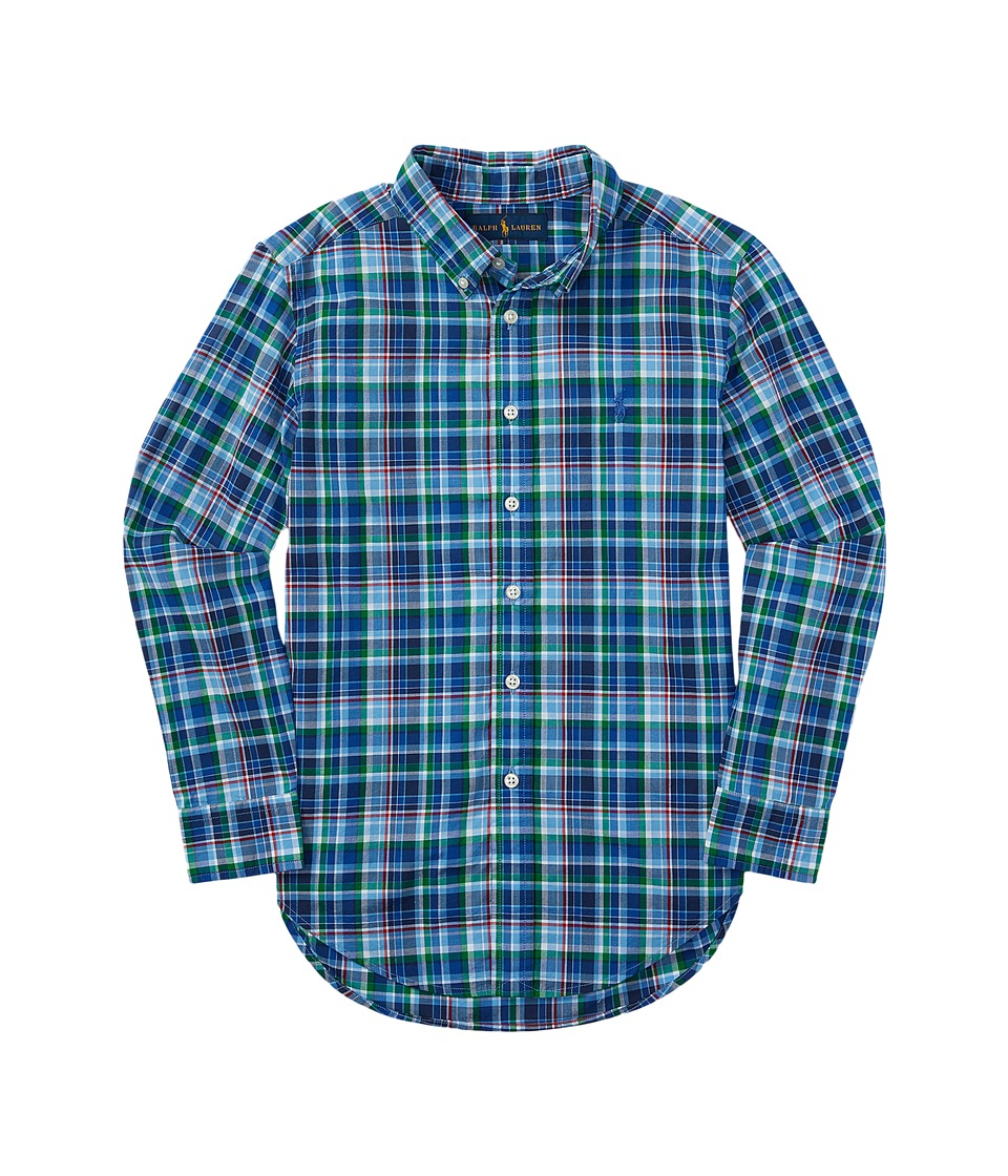Polo Ralph Lauren Kids - Poplin Plaid Long Sleeve Button Down Shirt (Big Kids) (Royal/Light Blue Multi) Boy's Long Sleeve Button Up