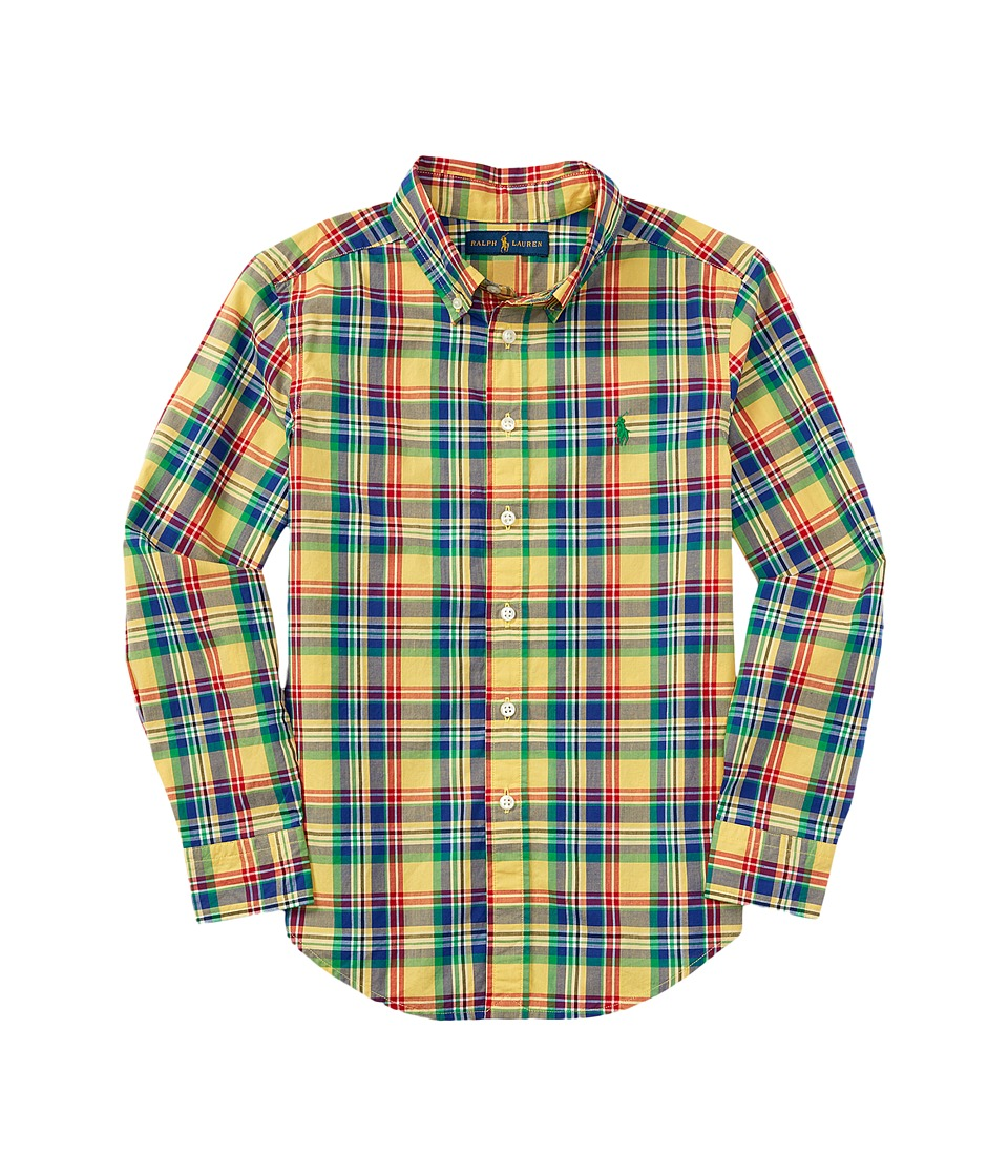 Polo Ralph Lauren Kids - Poplin Plaid Long Sleeve Button Down Shirt (Big Kids) (Yellow/Royal Multi) Boy's Long Sleeve Button Up