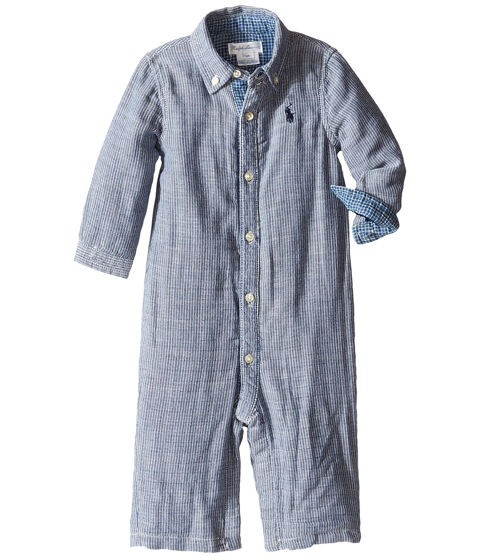 Ralph Lauren Baby - Double Face Kensington One-Piece Coveralls (Infant) (Indigo Stripe) Boy's Overalls One Piece